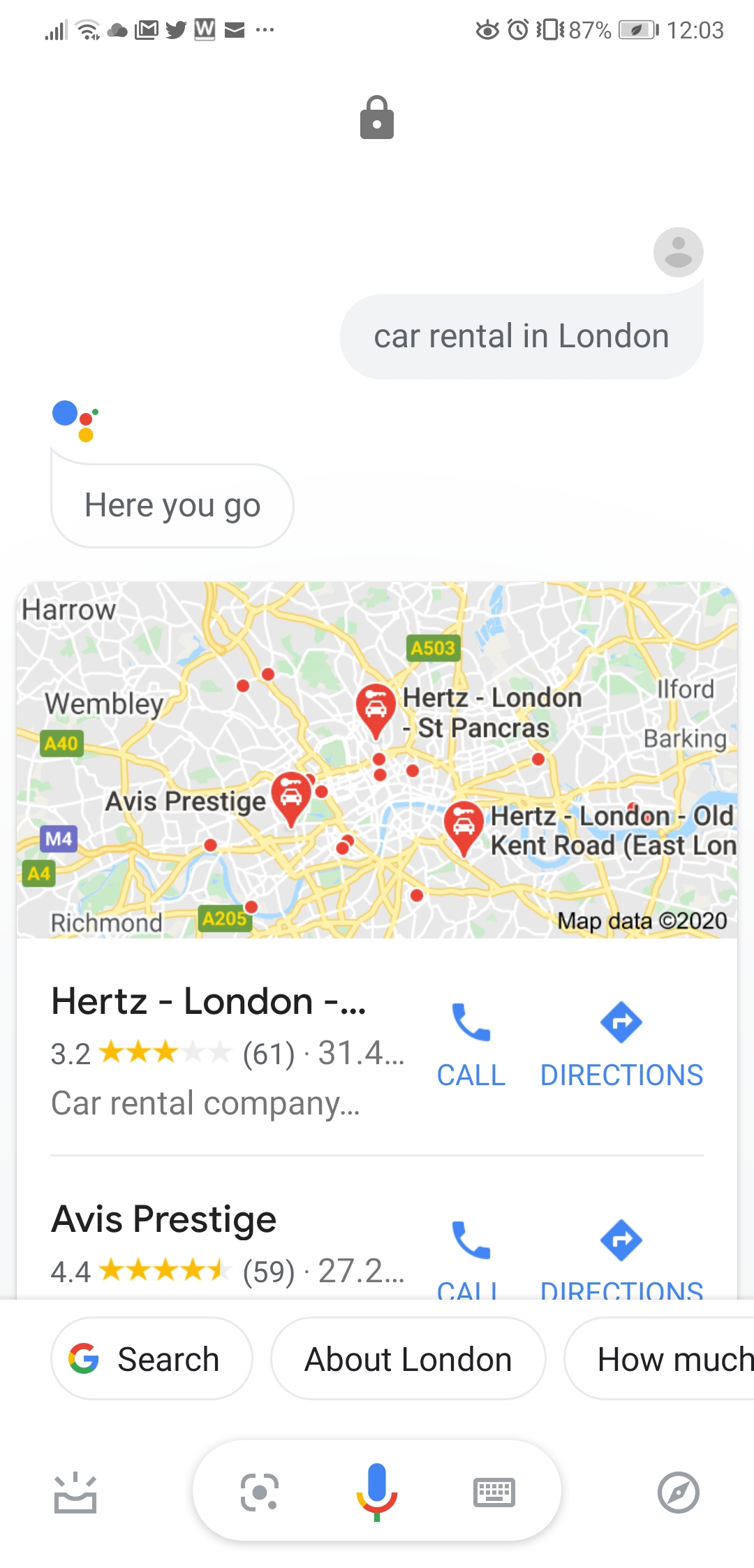 Hertz Google Assistant local map pack result
