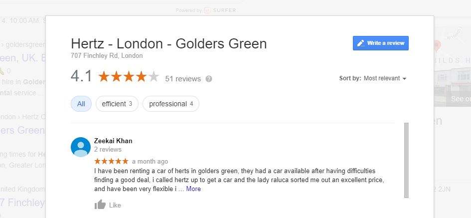 Screenshot of Hertz Golders Green London Google Reviews to show how Google Reviews can improve local presence