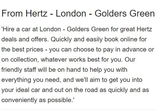 Text describing and promoting the car rental services Hertz offers in London