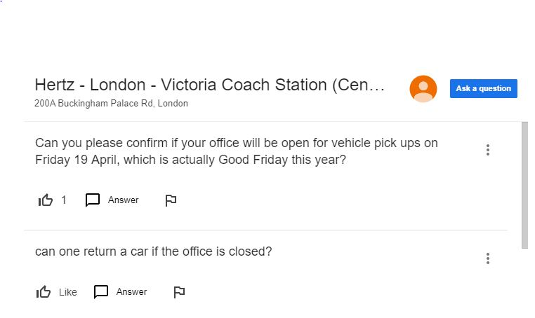 Screenshot of Hertz Victoria London Google Questions and Answers