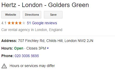 Hertz London Golders Green Address, Opening Hours, Phone Number
