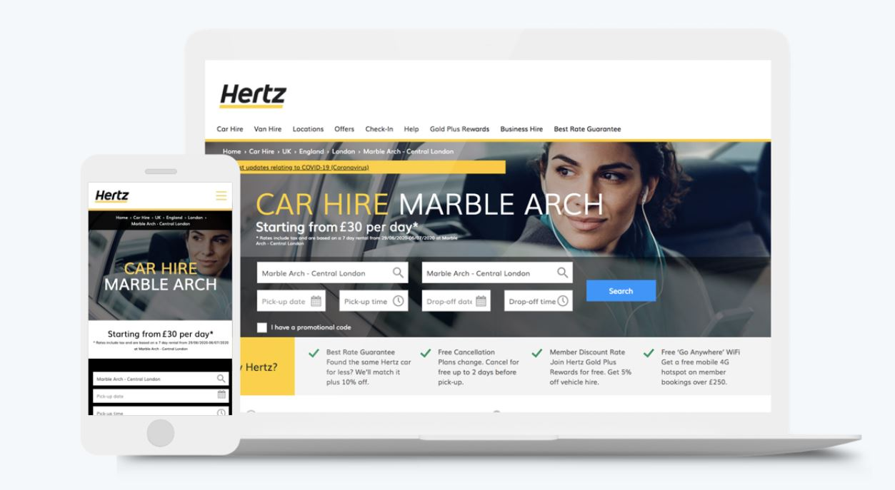 Graphic of laptop and phone displaying Hertz Store Locator and location pages