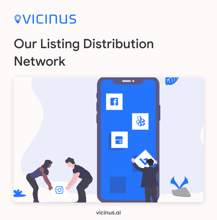 Vicinus listing distribution network graphic. Shows cartoon people picking up social media and online platform icons and putting them on a phone screen.