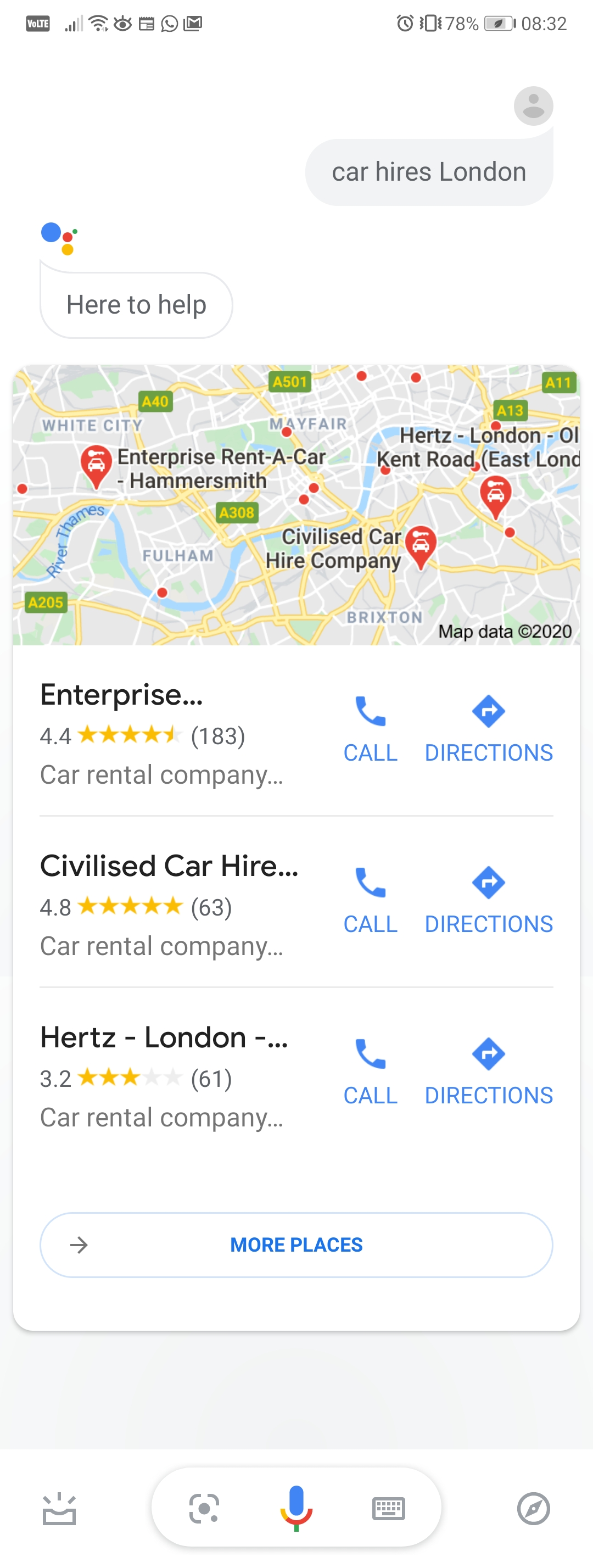 Google Assistant Voice Search for Car Hire in London