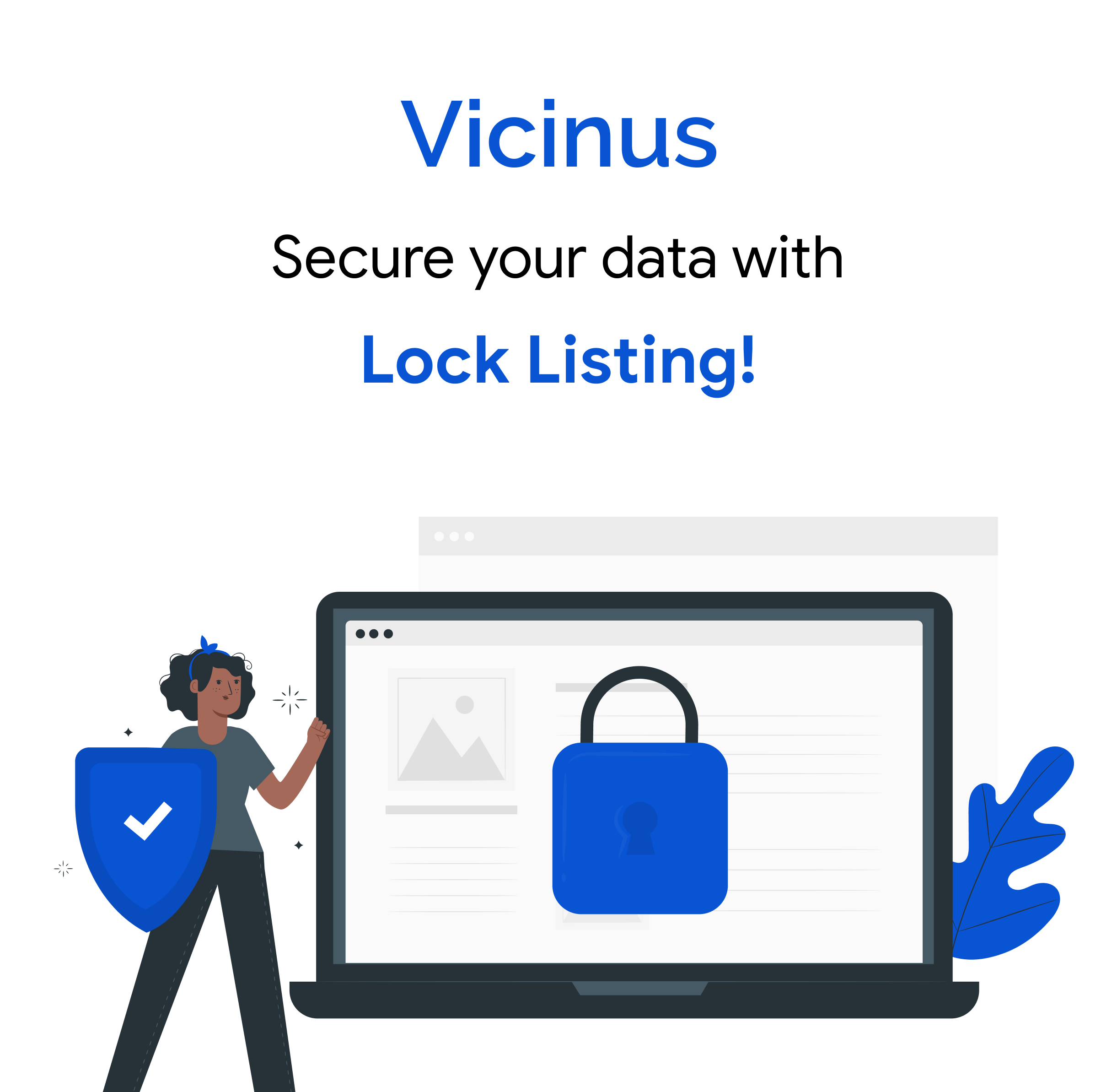 Lock listing graphic. Text says 'secure your data with lock listing!'. Image shows a woman holding a shield with a tick in it, standing next to a laptop which shows a padlock on the screen to represent protecting business listing data from external edits