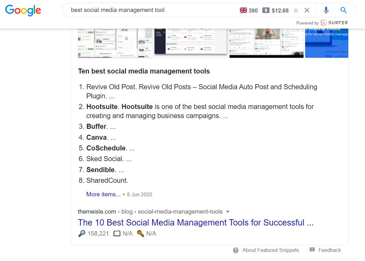 Google search result for best social media management tool