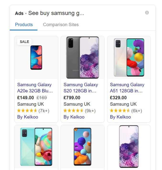 Search result for buy samsung galaxy demonstrating transactional intent