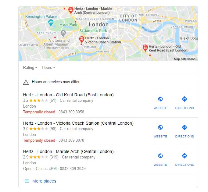 Google search result 3-pack for car rental london. Displays results for 3 different Hertz London locations
