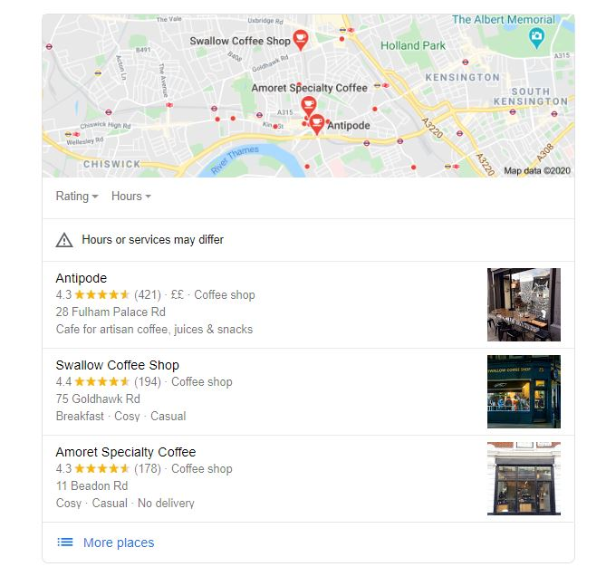 Google search result 3-pack for coffee shops near me. Displays results for Antipode, Swallow Coffee Shop and Amoret Speciality Coffee.
