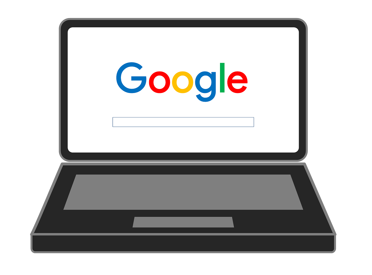 Google Search Laptop Graphic to represent Google SEO ranking factors.