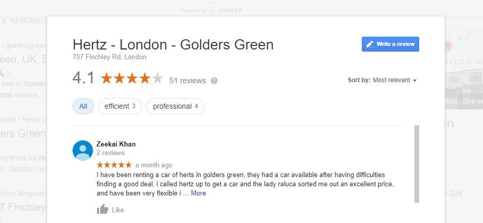 Google Reviews for Hertz London Golders Green