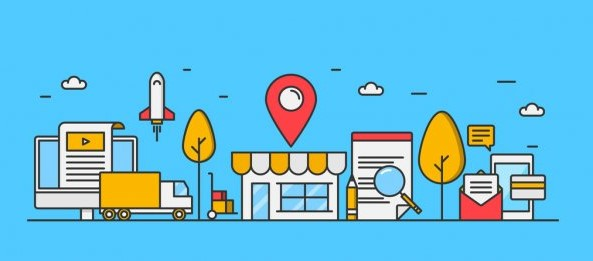 Local SEO marketing graphic of a street with a store and geo pin next to icons representing business & marketing