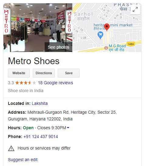Google My Business listing for Metro Shoes India
