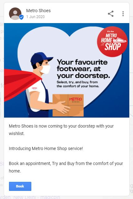 Metro Shoes Google My Business Post screenshot showcasing footwear delivery concept during covid.