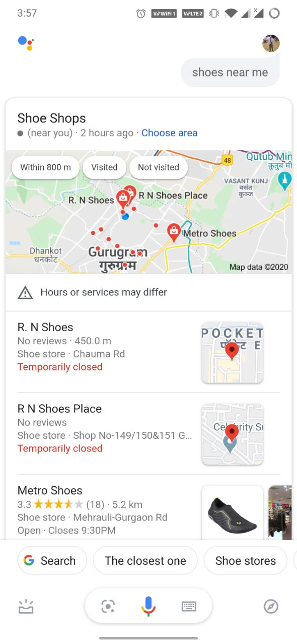 Shoes near me Google Assistant voice search result
