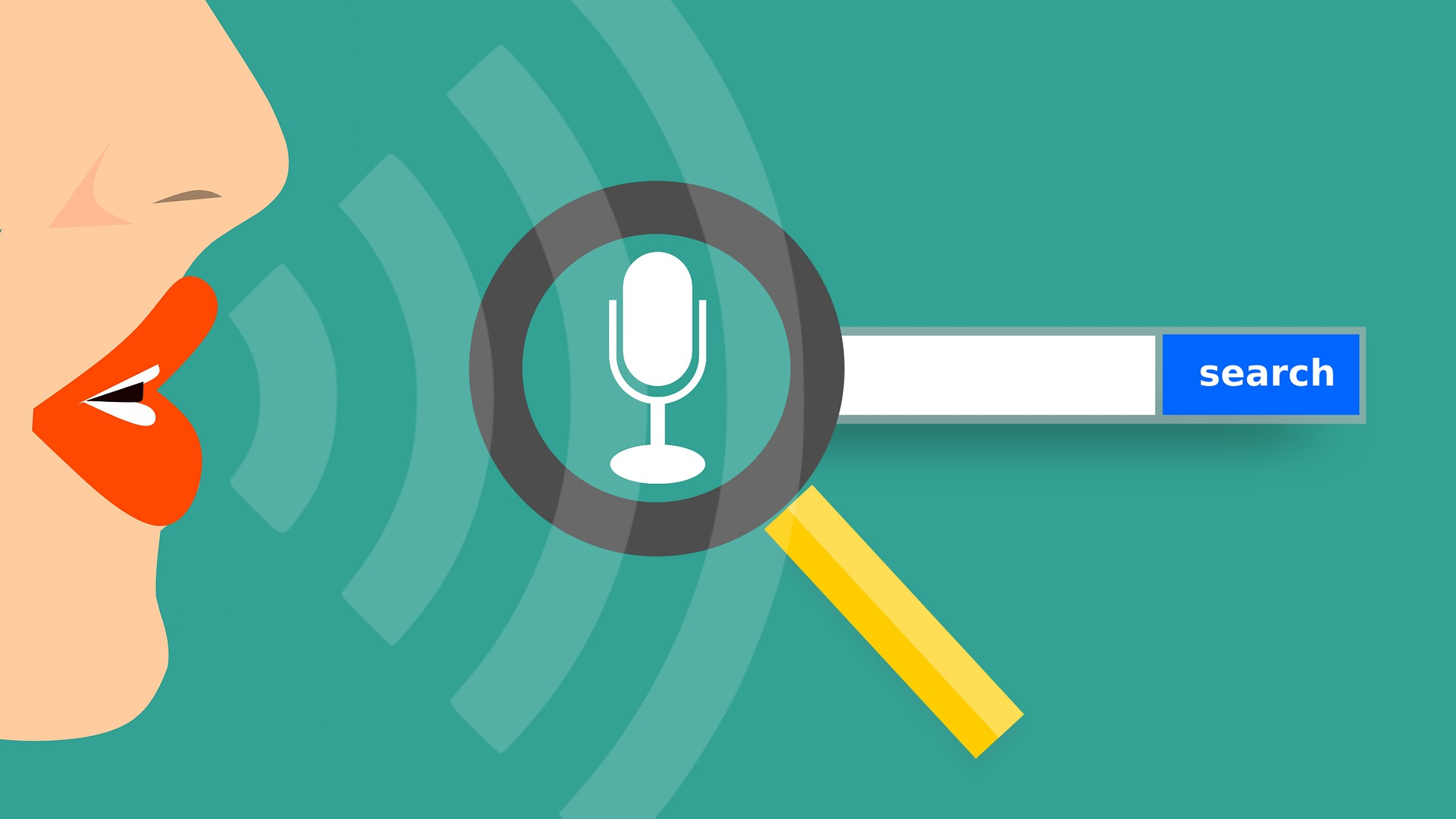 Voice SEO Graphic showing lips speaking, a microphone, magnifying glass and search bar